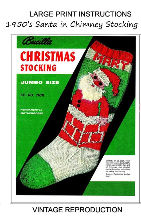 pdf Santa in Chimney Christmas Stocking Knitting Vintage | Etsy