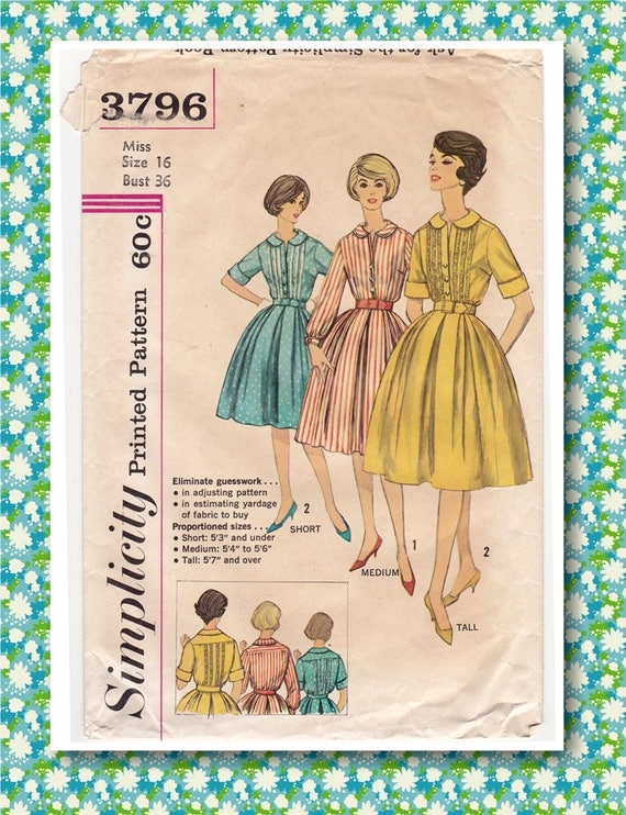 5878 Vintage Simplicity Sewing Pattern Misses Button Front Dress Proportioned