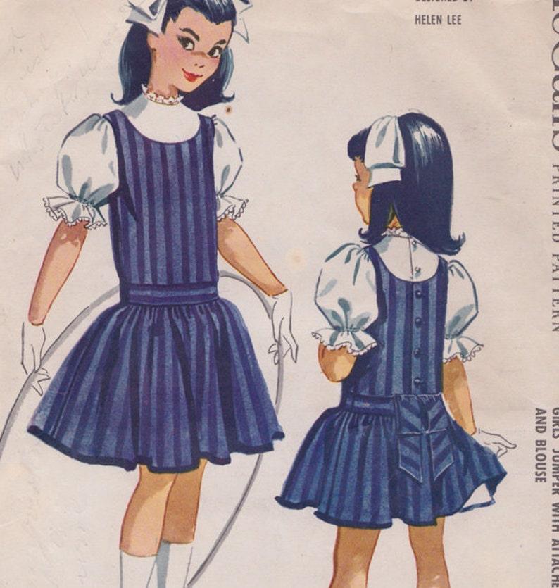 1950s McCalls 4645 Helen Lee ragazze Jumper con annesso  3e8b37a01bc