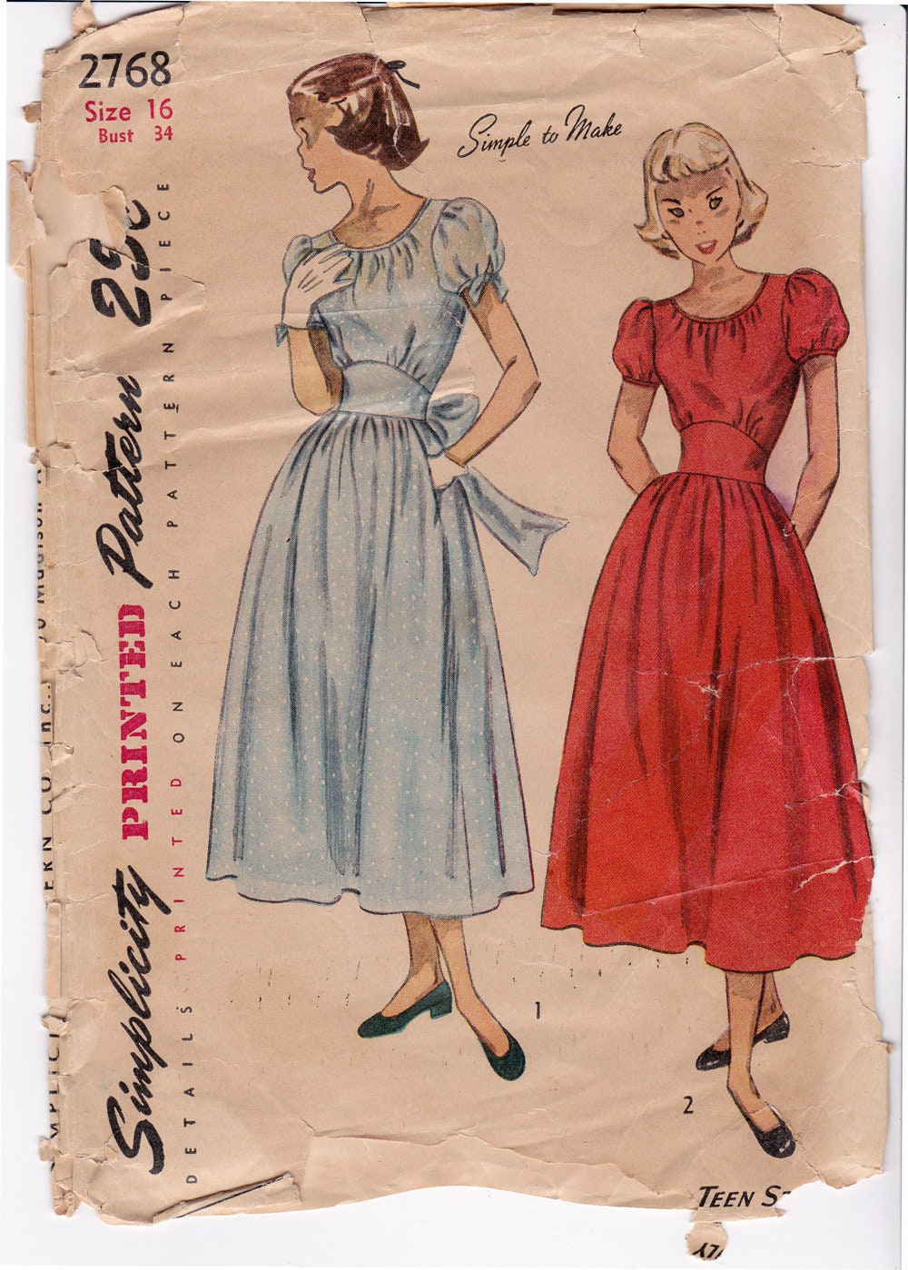 Soffio di rara semplicità 2768 40s Dirndl Dress Pattern  31695309e62
