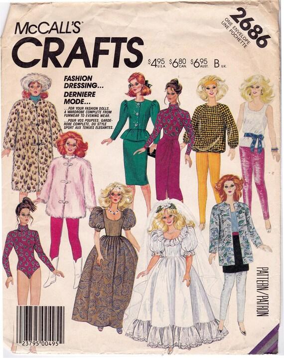 UNCUT McCalls 2686 80s Barbie Doll Clothes Pattern vestiti  911ca520412