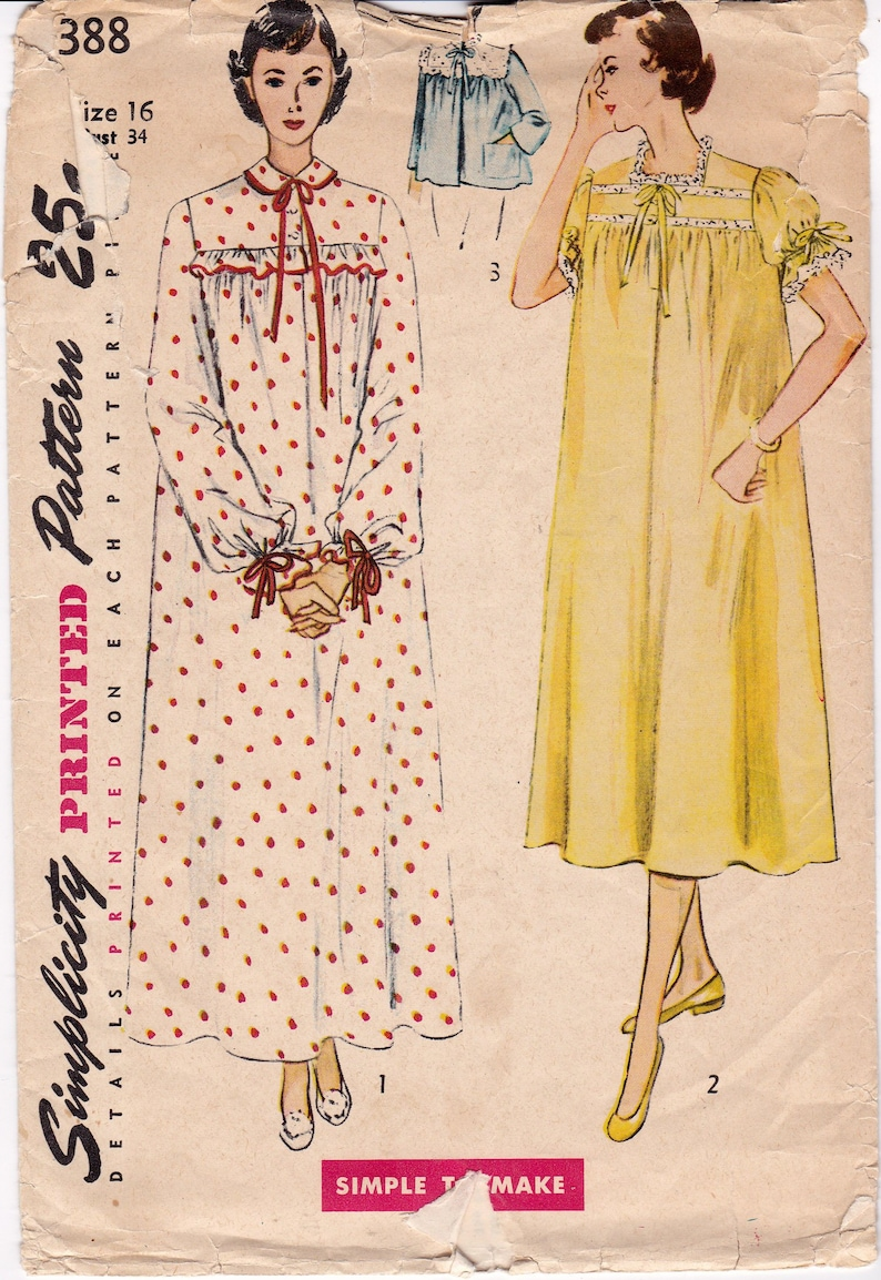 Simplicity 3388 1950s Nightgown   Bed Jacket Women s  997bbb78e