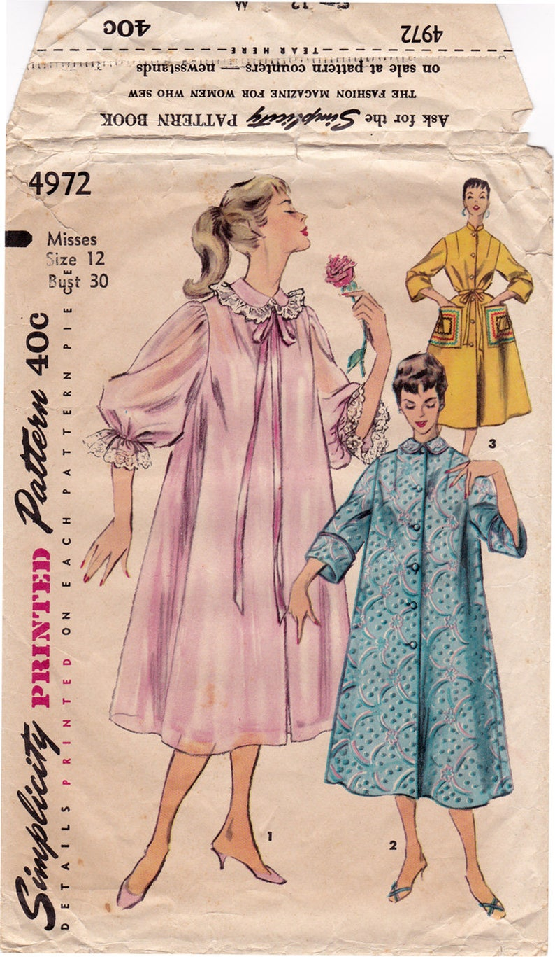 1950s Simplicity 4972 Misses Negligee Housecoat Robe Duster  fd970ebb4