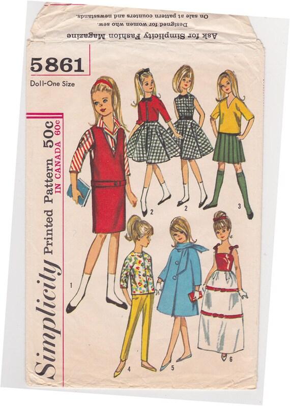 1960er Jahre Einfachheit 5861 9-Zoll-Puppe Kleidung Muster