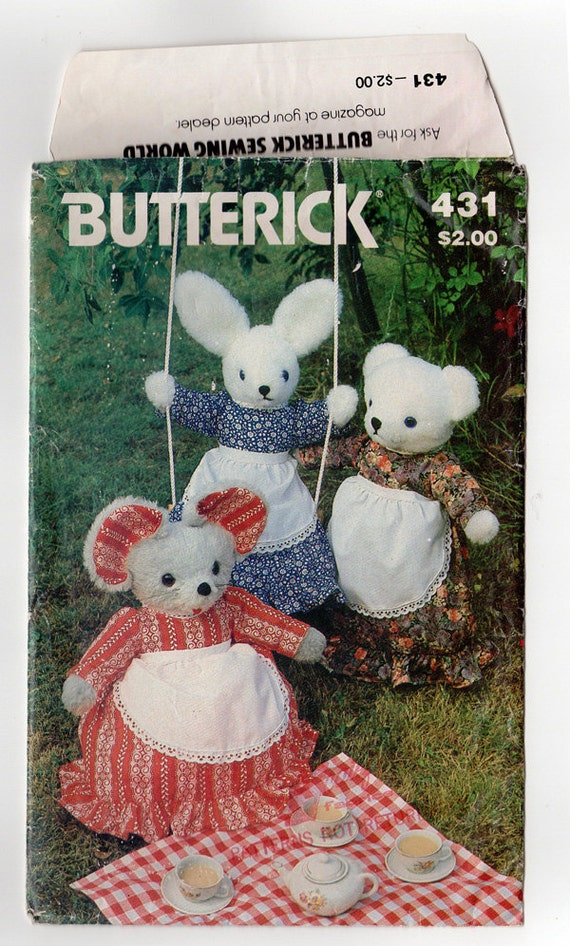 FF Butterick 431 1970er Jahre gefüllt Tiere und Kleidung   Etsy