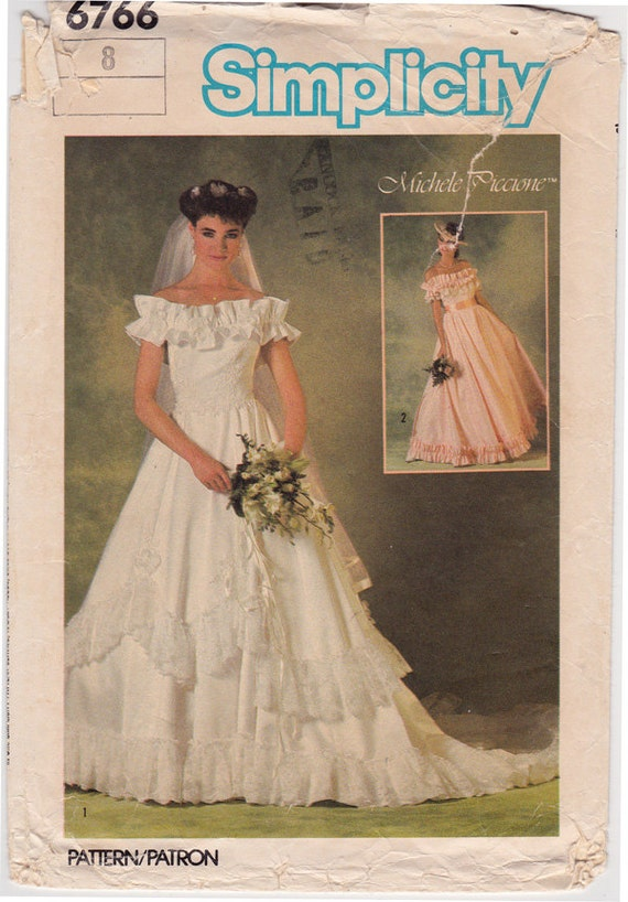 Ff Simplicity 6766 Designer Bridal Gown Dress 1980s Vintage Sewing Pattern Wedding Dress Size 8 Bust 31 1 2 Uncut Factory Folded