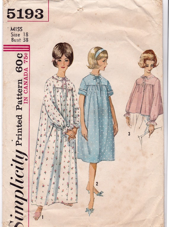 Simplicity 5193 60s Long or Short Nightgown   Bed Jacket  7fac93ecb