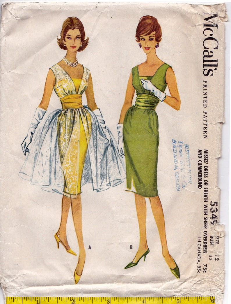d3a965e26a McCalls 5349 1960 COCKTAIL DRESS Pattern Sheer Overskirt