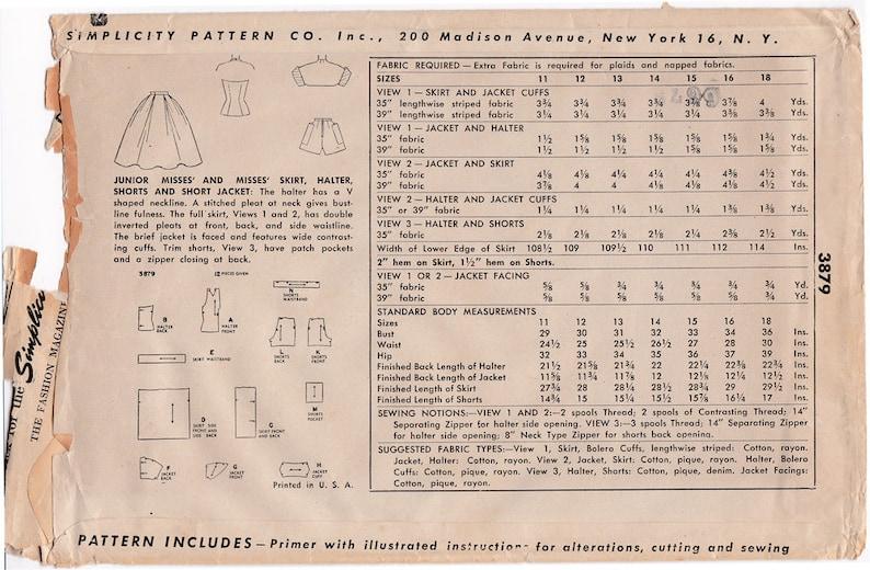 Semplicità 3879 1950s splendida HALTER Top e Full Skirt  af95c6517ff