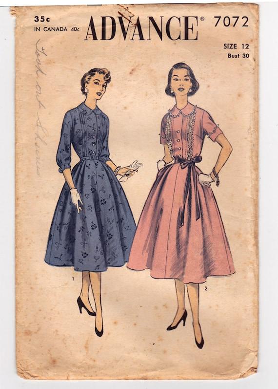 Vorab 7072 1940s Hemdblusenkleid Schnittmuster vier | Etsy