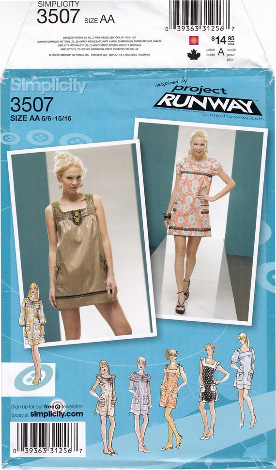 Ff Simplicity 3507 Dress Sewing Pattern Project Runway Etsy