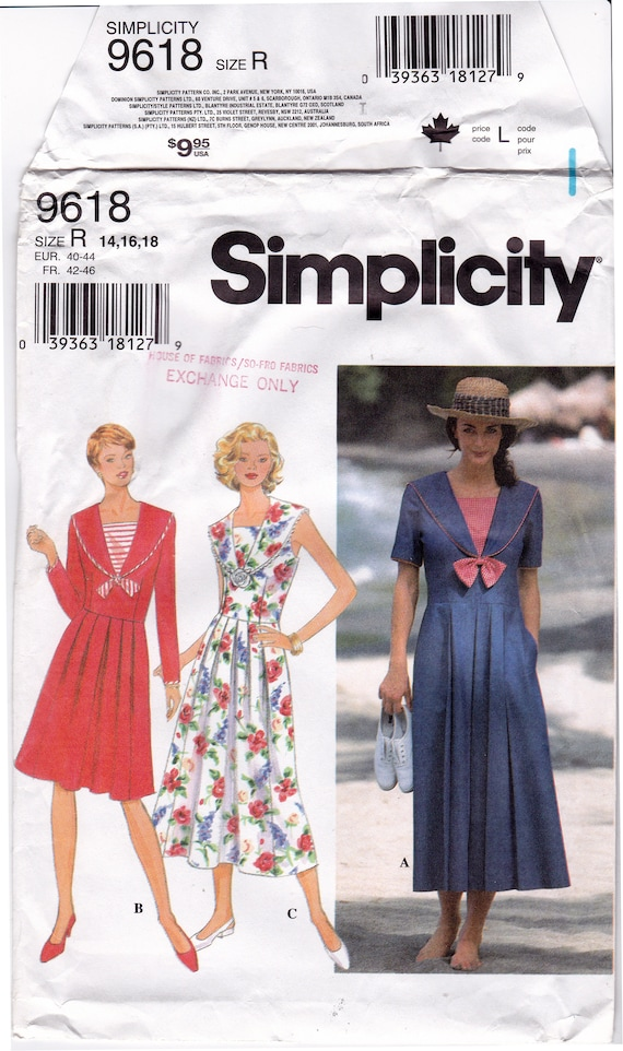 FF 90s Simplicity 9618 Sailor Collar Dress Pattern, Nautical Empire Waist  Dress Pleated Skirt Sewing Pattern, Plus Size 14 16 18, Bust 36-40