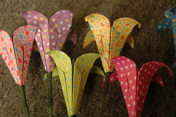 Origami Lily Flower On Stem Heart Patterns Your Choice Of Etsy
