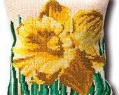Daffodil Floral Big Stitch Counted Needlepoint Pillow