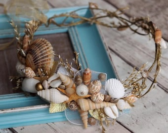 Bridal Flower Wreath, Beach Wedding Hair Accessory, Starfish Hair Accessory, Beach Wedding Crown, Mermaid Crown, Fairy Crown