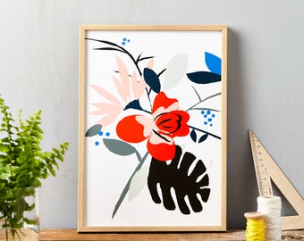 Red Flower on White Art Print