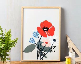 Red Flower on Grey Art Print