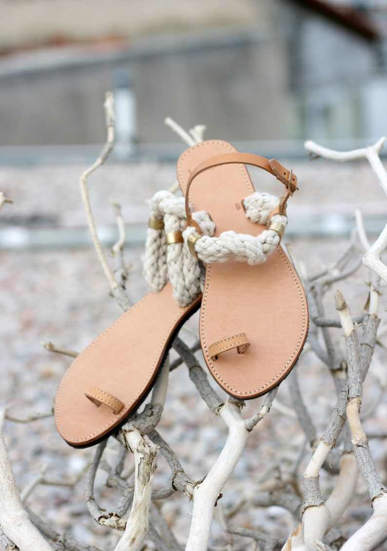 0731966055f59 Greek Leather Toe Ring Sandals with side backle - Unique Design - Women's  Ancient Rope Shoes - Wedding sandals