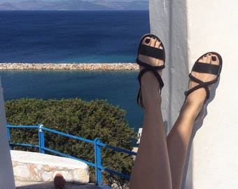 Slingbacks Sandals black color and black ropes - Greek sandals - Eleanna Katsira Kythnos - Black sandals - Ancient Greek Sandal