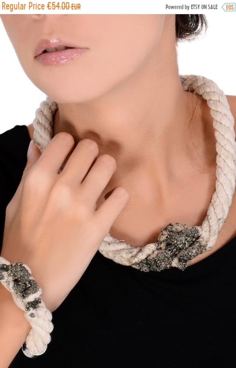 Statement Necklace  One of a Kind Rope Necklace With Iron image 0