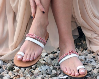Greek Leather Toe Ring Sandals - Unique Design - Women's Ancient Rope Shoes - Wedding sandals