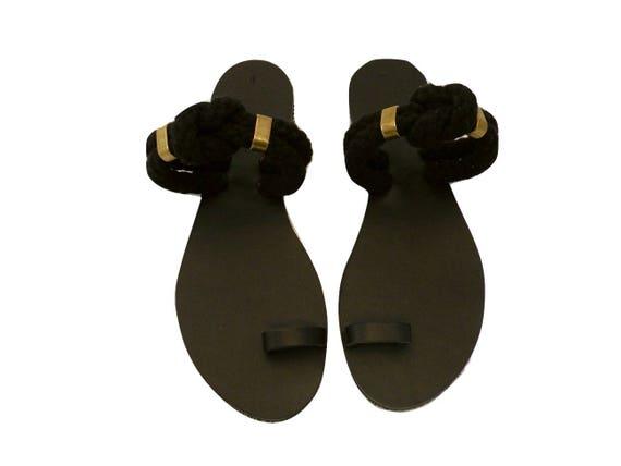 a7a52a8418853 Toe Ring Sandals - Greek sandals - Unique Design - Women's Ancient Rope  Shoes - Black sandals - Eleanna Katsira sandals