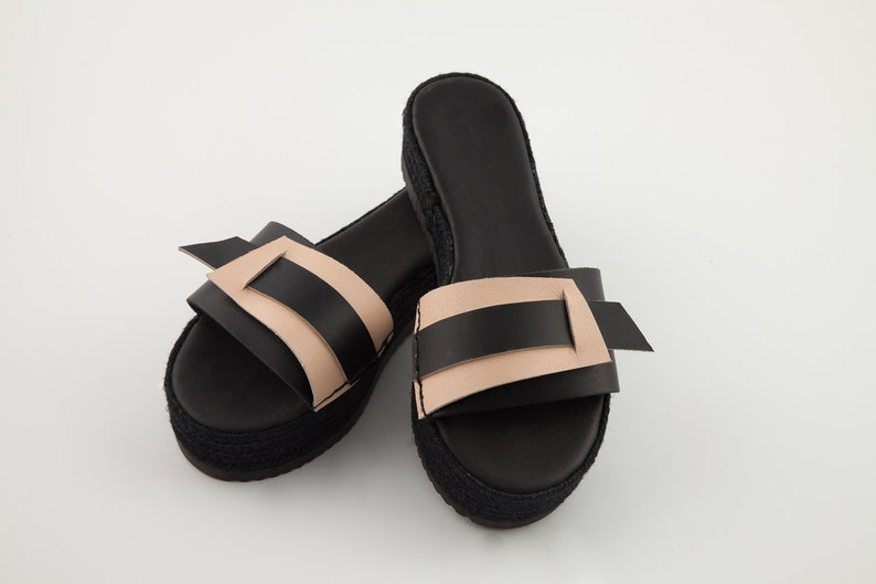 bbab6efc43c08 Black Nude leather sandals - Leather sandals - Slip on sandals - Unique  design sandals - Summer shoes - Avant garde sandals