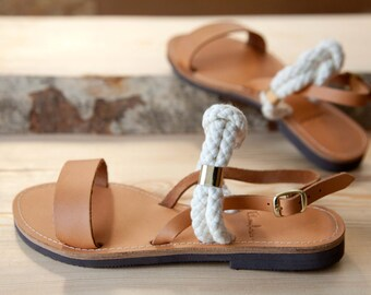 Greek Leather Sandals - Unique Design - Women's Ancient Rope Shoes - Wedding sandals