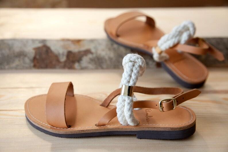 b3c65814cfbc5 Greek Leather Sandals - Unique Design - Women's Ancient Rope Shoes -  Wedding sandals