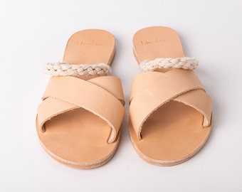Slip on Criss Cross Sandals natural color and white ropes - Greek sandals - Eleanna Katsira Donousa - Wedding sandals - Ancient Greek Sandal