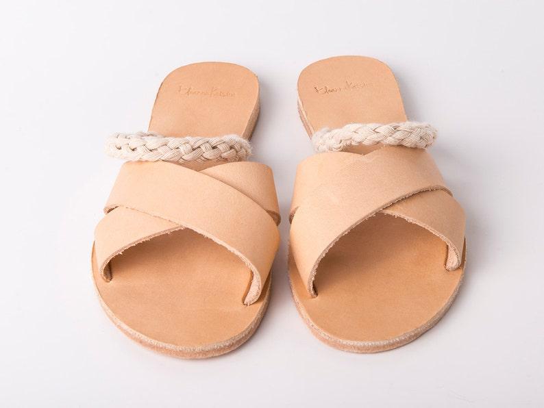 7db97416bb04b Slip on Criss Cross Sandals natural color and white ropes - Greek sandals -  Eleanna Katsira Donousa - Wedding sandals - Ancient Greek Sandal