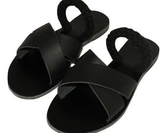 Slip on Criss Cross Sandals black color and blackropes - Greek sandals - Eleanna Katsira Shinousa - Ancient Greek Sandal