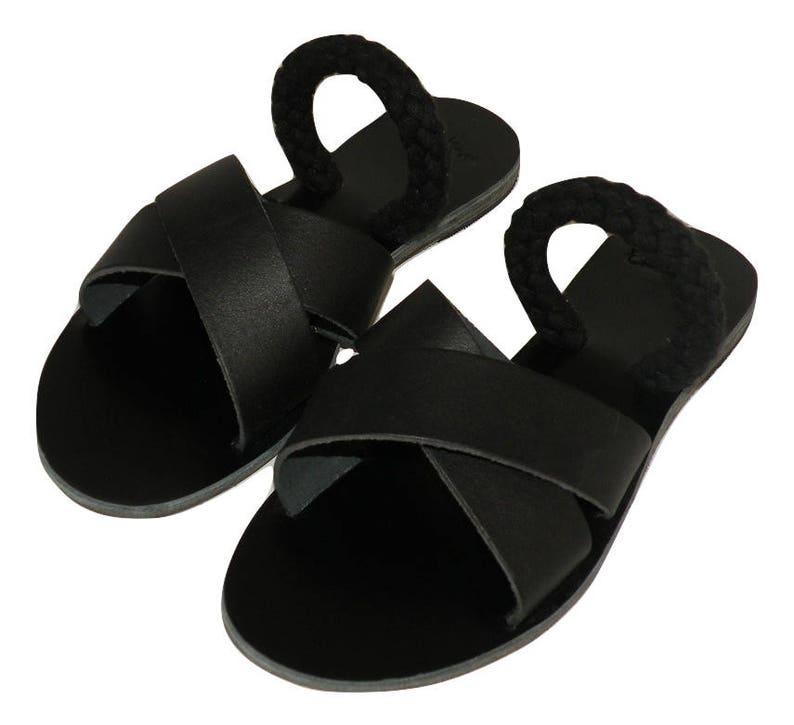 e71f6a6fb14ad Slip on Criss Cross Sandals black color and blackropes - Greek sandals -  Eleanna Katsira Shinousa - Ancient Greek Sandal