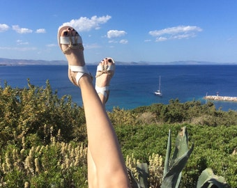 Ankle wrap Sandals white color and yuta braided rope - Greek sandals - Eleanna Katsira Chios - White sandals - Ancient Greek Sandal
