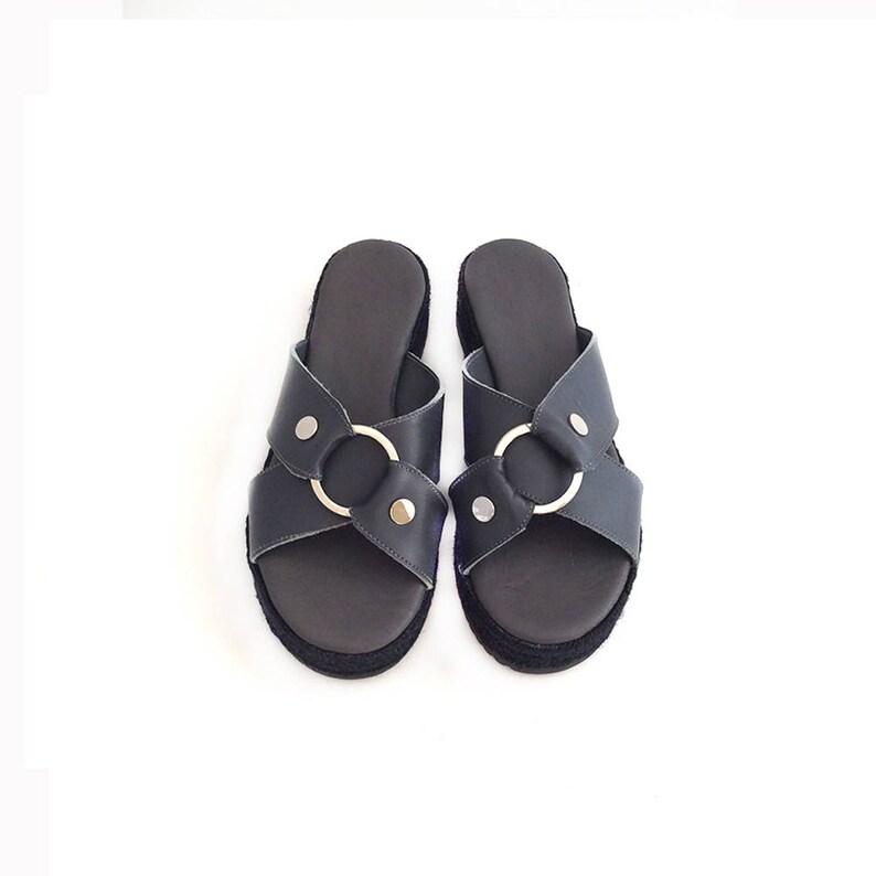 2dcabe15cb22e Espadrilles Sandals, Grey Leather Sandals Flatform, Criss Cross Sandals,  Platform Sandals Shoes with metallic element