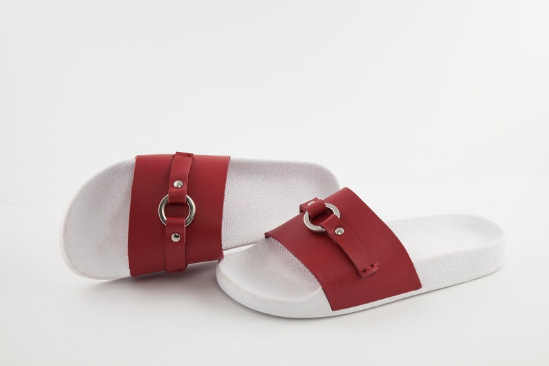 6ae06897520ac Red leather sandals - Leather sandals - Slip on sandals - Unique design  sandals - Summer shoes