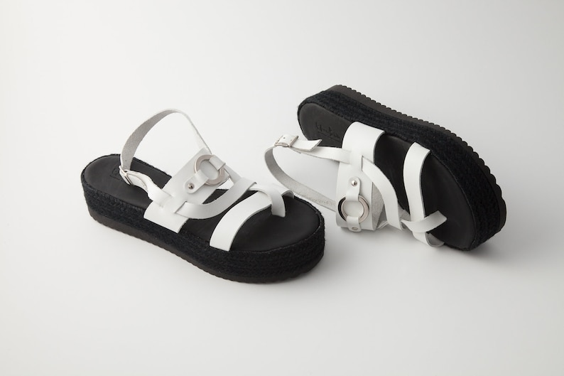 ad10615fab0ed Gladiator sandals - Open toe sandals - Ancient Greek sandals - Flatform  sandals - White sandals - White flatforms