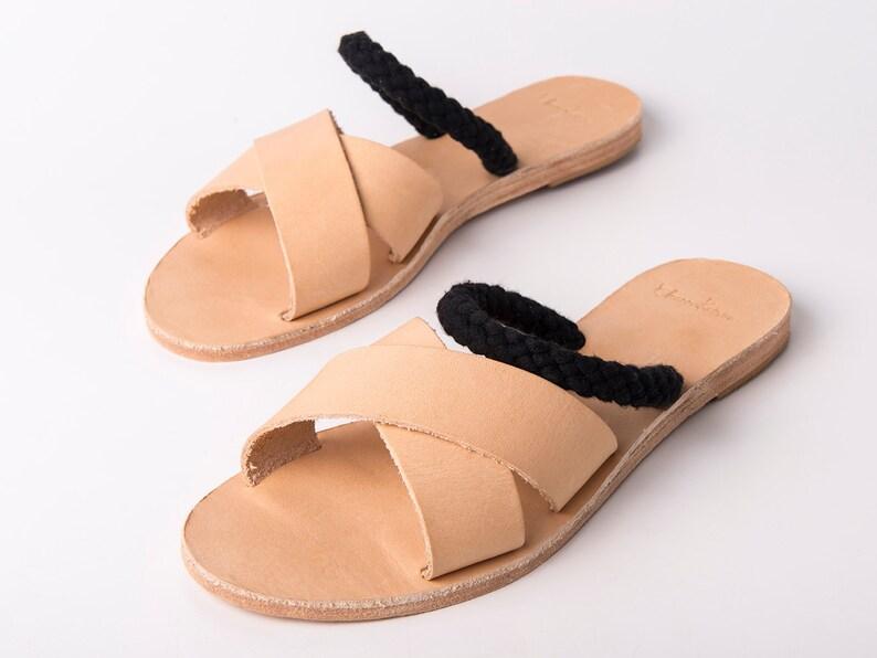 26c847280de5e Slip on Criss Cross Sandals natural color and blackropes - Greek sandals -  Eleanna Katsira Shinousa - Ancient Greek Sandal