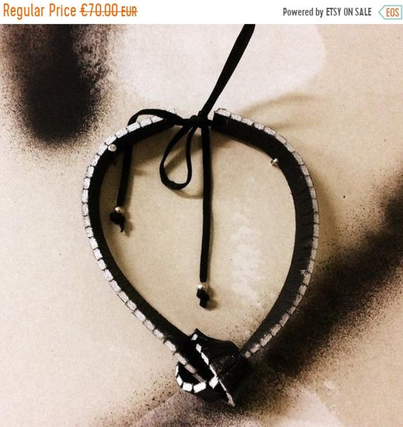 Leather Zipper Choker Leather Necklace Painted with Silver image 0