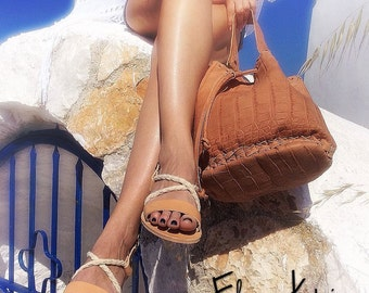Slingbacks Sandals natural color and white ropes - Greek sandals - Eleanna Katsira Kimolos - Wedding sandals - Ancient Greek Sandal