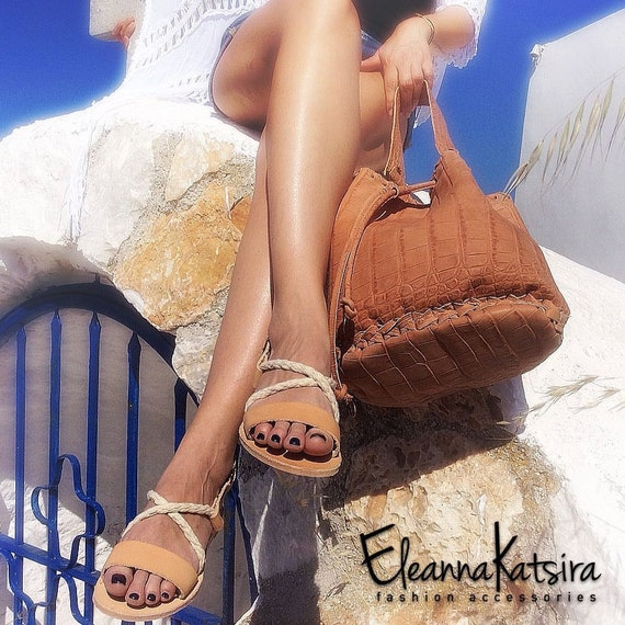 35b1ef0fb758f Slingbacks Sandals natural color and white ropes - Greek sandals - Eleanna  Katsira Kimolos - Wedding sandals - Ancient Greek Sandal