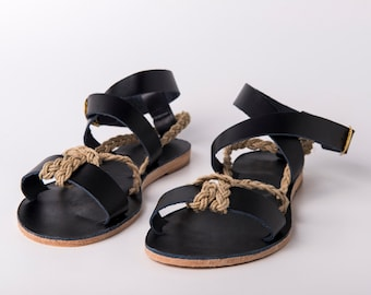 Ankle wrap Sandals black color and yuta braided rope - Greek sandals - Eleanna Katsira Crete - Black sandals - Ancient Greek Sandal