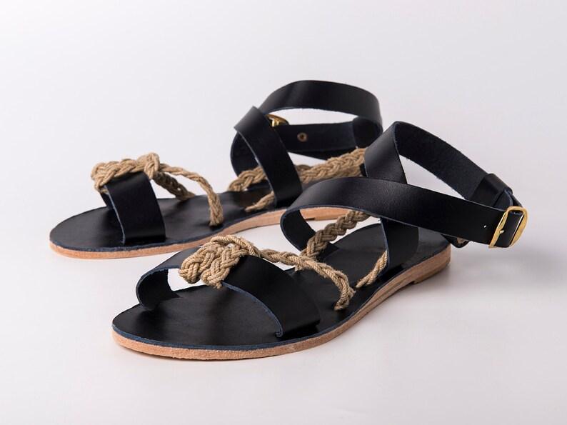 2085d60920d02 Ankle wrap Sandals black color and yuta braided rope - Greek sandals -  Eleanna Katsira Crete - Black sandals - Ancient Greek Sandal