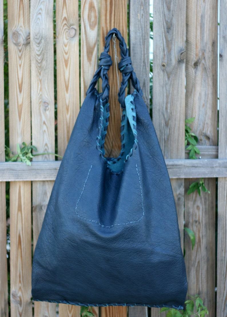Blue Leather Hobo Bag  Every day Shopping Bag  Handmade  image 0