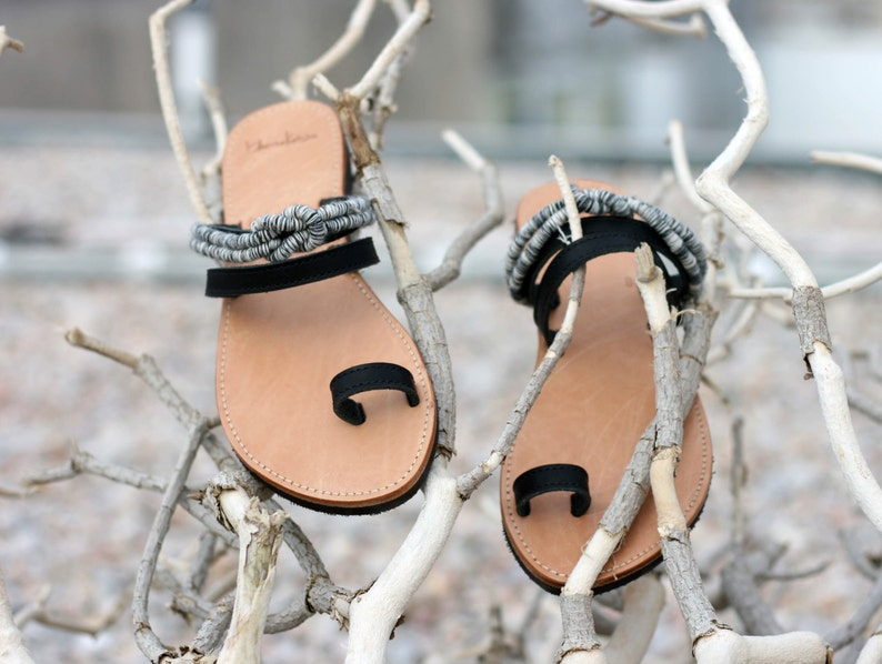 3467ee859aebe Greek Leather Toe Ring Sandals - Unique Design - Women's Ancient Rope Shoes  - Wedding sandals