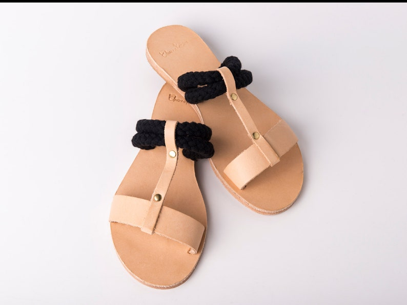 c59c4e75cdaaa Hydra Slip on Sandals natural color and black ropes - Greek sandals
