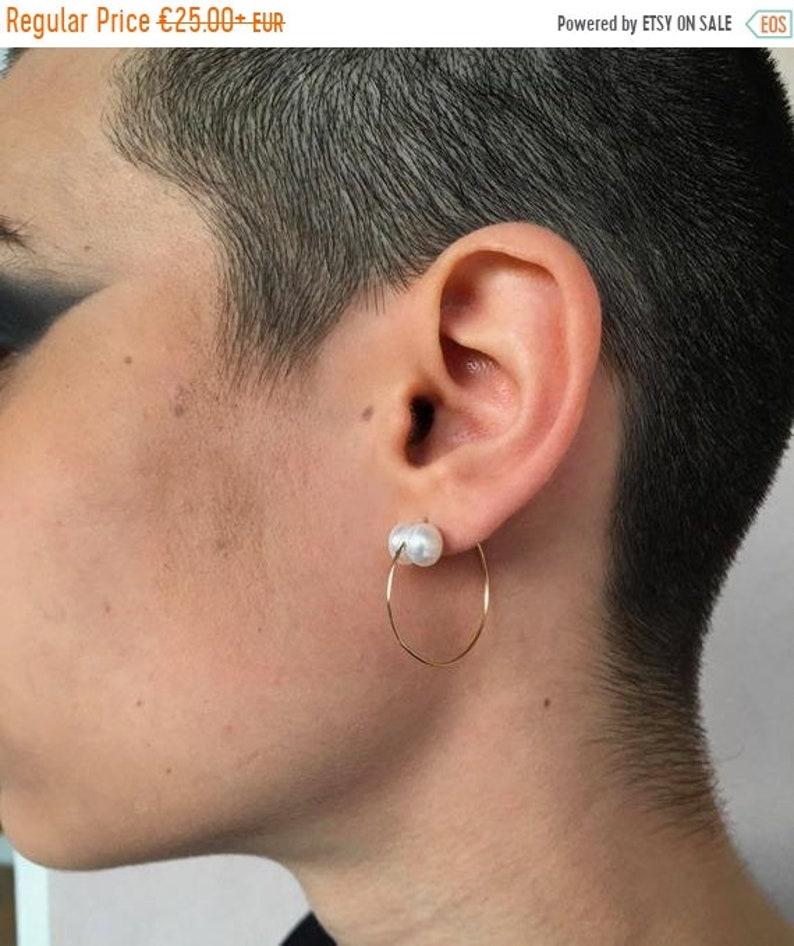 Gold Filled Hoop Earrings with Pearls  14K image 0