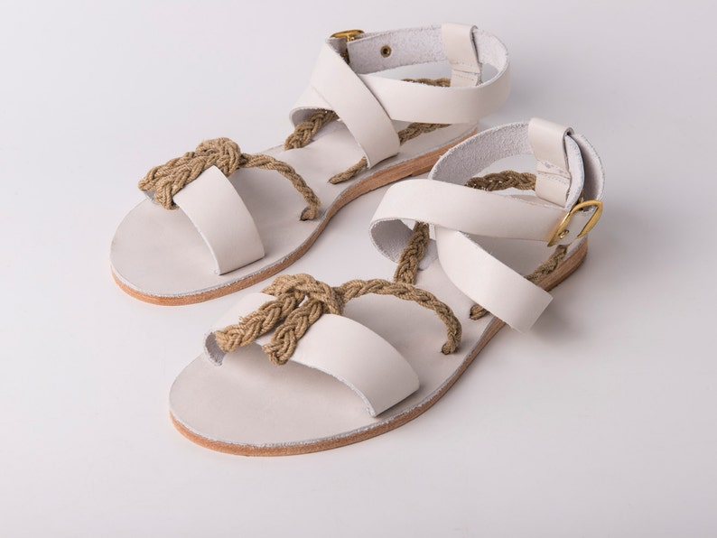 388835edf2da7 Ankle wrap Sandals white color and yuta braided rope - Greek sandals -  Eleanna Katsira Chios - White sandals - Ancient Greek Sandal