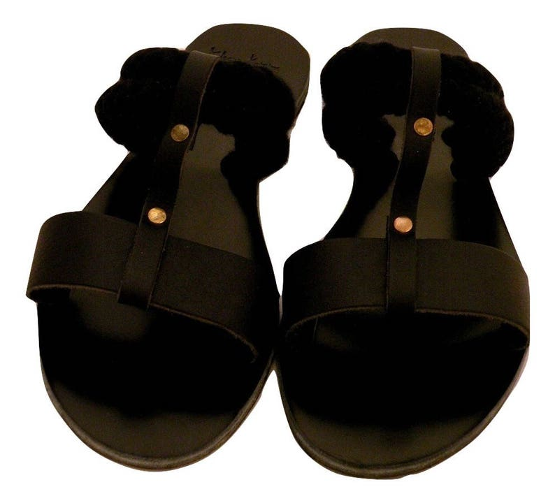 7ce735cce3deb Eleanna Katsira Slip on Sandals in black leather and black ropes - Greek  sandals - Unique Design - Women's Ancient Rope Shoes