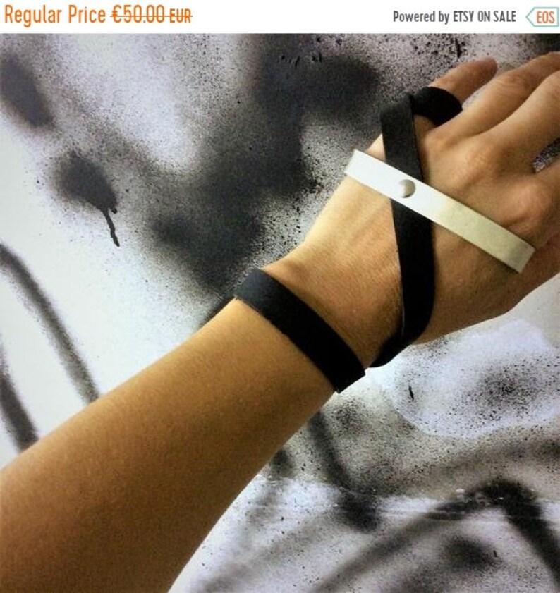 Palm Ring Bracelet Leather and Metal Bracelet Cage Bracelet image 0